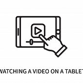 Watching A Video On A Tablet Icon Isolated On White Background. Watching A Video On A Tablet Icon Si poster