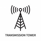 Transmission Tower Icon Isolated On White Background. Transmission Tower Icon Simple Sign. Transmiss poster