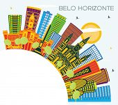 Belo Horizonte Brazil Skyline with Color Buildings, Blue Sky and Copy Space. Business Travel and Tou poster
