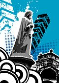 Grungy Statue With Building Vector
