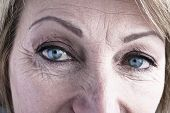 stock photo of wrinkled face  - Close - JPG
