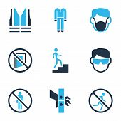 Protection Icons Colored Set With Dust Mask, Keep Door Closed, Protective Clothing And Other Injury  poster