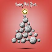 Happy New Year. Christmas Tree From Volleyball Balls. Volleyball Themed Christmas Tree. Pattern For  poster