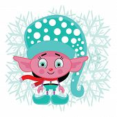 Charming Contented Holiday Cartoon Elf With Bright Eyes And A Flowing Red Scarf. He Has Bright Aqua  poster