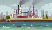 Vector Background With Environmental Pollution. Factory Plant Smokes With Smog, Trash Emission From  poster