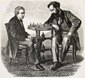 American chess prodigy Paul Morphy (on the left) playing a match. Created by Marc, published on L'Il