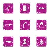 Urban Attack Icons Set. Grunge Set Of 9 Urban Attack Icons For Web Isolated On White Background poster