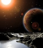 foto of fantasy world  - Abstract image of a planet with water - JPG