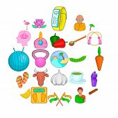 Spiritual Development Icons Set. Cartoon Set Of 25 Spiritual Development Icons For Web Isolated On W poster