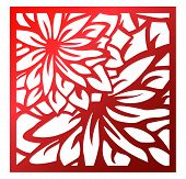 Laser Cutting Square Panel. Openwork Floral Pattern With Flowers. Perfect For Silhouette Ornament, W poster
