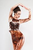 picture of bottomless  - Tall brunette covered in chocolate syrup and coffee grounds - JPG