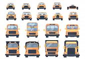 Set Of Different Types Of Transport. City Car, Pick Up, Roadster, Hot Road, Suv, Bus, Lorry, Heavy T poster
