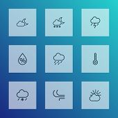 Weather Icons Line Style Set With Cold Weather, Blizzard, Moonshine And Other Drizzle Elements. Isol poster