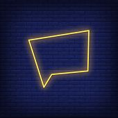 Chat Cloud Neon Sign. Glowing Chat Cloud On Brick Wall Background. Vector Illustration Can Be Used F poster