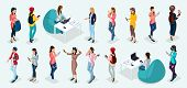 Trendy Isometric Vector People, 3d Person Teenagers, Modern Girl And Gadgets, Freelancers, Startup,  poster