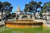 BARCELONA, SPAIN - AUGUST 16: Fountain in Plaza Catalunya on August 16, 2011 in Barcelona, Spain. Th