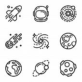 Space Galaxy Icon Set. Outline Set Of 9 Space Galaxy Icons For Web Design Isolated On White Backgrou poster