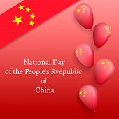 October National China Day Concept Banner. Realistic Illustration Of October National China Day Conc poster