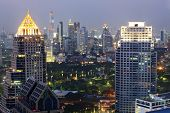 Aerial view of Bangkok Skyline cityscape  and garden Thailand