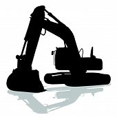 Digger Work Machine Black Silhouette