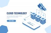 Cloud Technology Storage And Transfer Data Isometric, Mobile Phone Data Downloading, Remote Server R poster