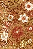 Golden Batik Sarong With White Flowers