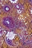 Golden Batik Design With White And Purple Flowers
