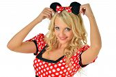 stock photo of fancy mouse  - Beautiful blonde woman in mouse mascarade costume - JPG