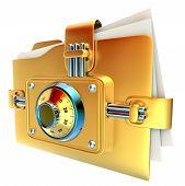 folder with golden combination lock