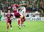 CLUJ-NAPOCA, ROMANIA - OCTOBER 2: Hernandez and Cadu in UEFA Champions League match between CFR 1907