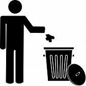 Stick Man Throwing Garbage In Trash.