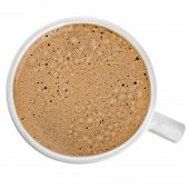 Top view of an isolated cup of coffee with bubbles
