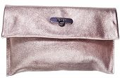 Golden Leather Clutch Bag