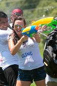 People Squirt Others And Get Squirted In Water Gun Fight