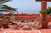 Terrace, Table, Chairs And Sea Views