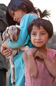Two Little Girls From The Village In The Kathmandu Valley