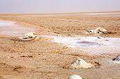 Het zout meer van Chott el Jerid in Tunesië