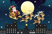 picture of sleigh ride  - A vector illustration of Santa Claus riding the the sleigh pulled by reindeers in the middle of winter night - JPG