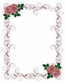 Red Roses Border Wedding Invitation