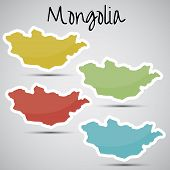stickers in form of Mongolia