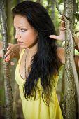 Portrait Of Beautiful Woman Seeking In Nature