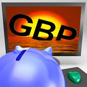 Gbp Sinking On Monitor Shows British Depression
