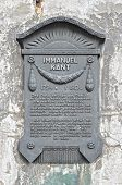 A Plaque In Honor Of The German Philosopher Immanuel Kant