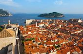 Dubrovnik Sunny Afternoon Panoramic View With The Harbor And Old Town