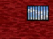 Latticed Prison Window, Clear Sky Beyond poster