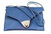 pic of handicrafts  - small flat blue handbag isolated on white background - JPG