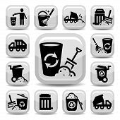 stock photo of waste disposal  - Vector Garbage And Cleaning Icons Set Created For Mobile - JPG