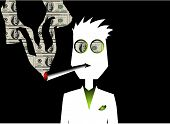 Man Smoking Money Cigarette