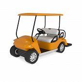 Orange Golf Cart Car Isolated On White