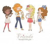 Collection of beautiful little girls, vector illustration.